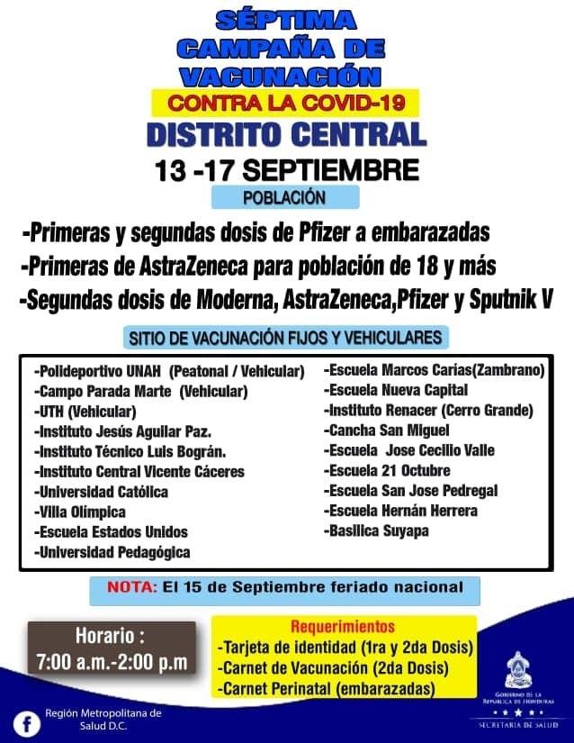 vacunación COVID Honduras lunes