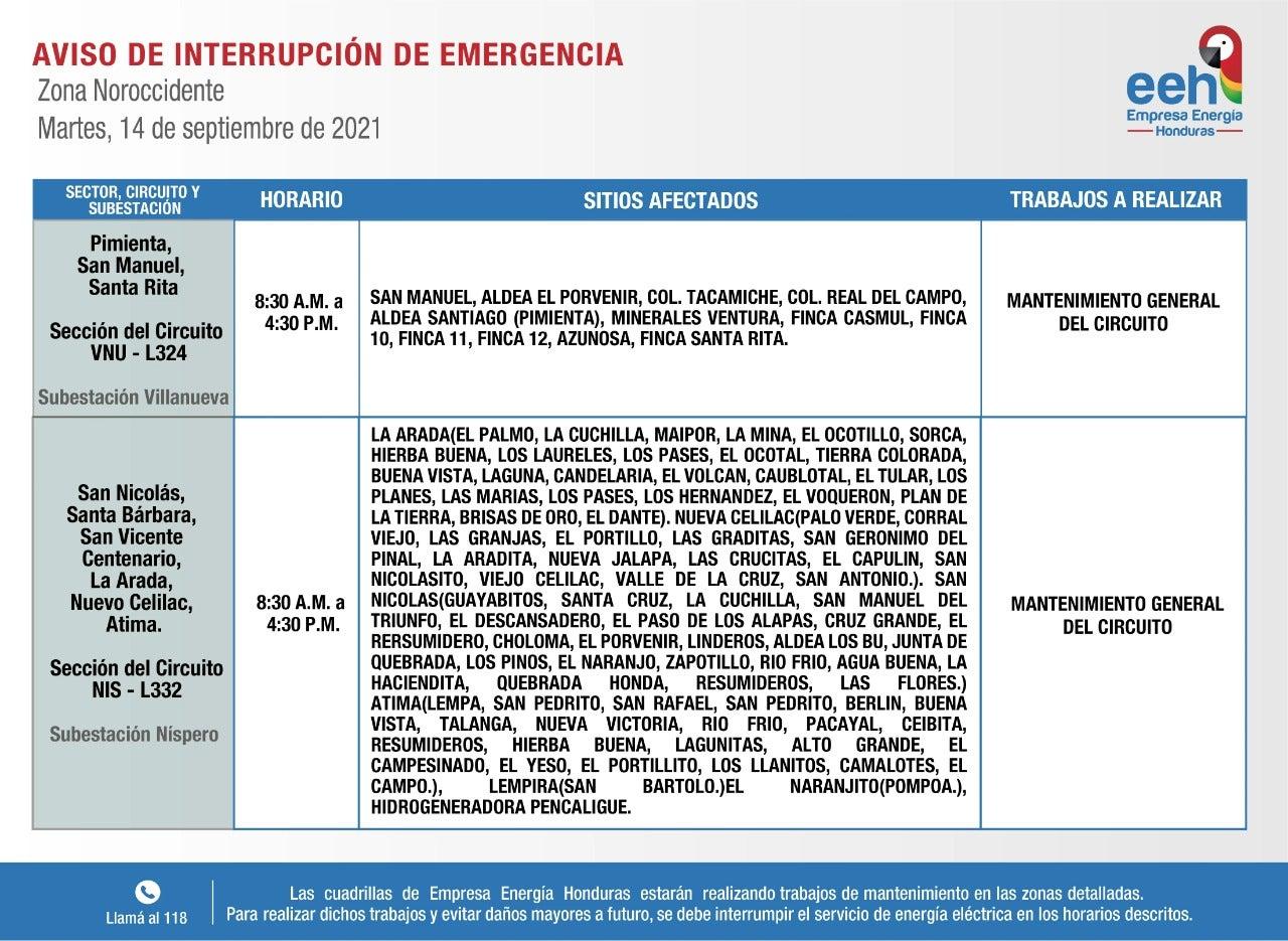 Honduras cortes de energía este martes