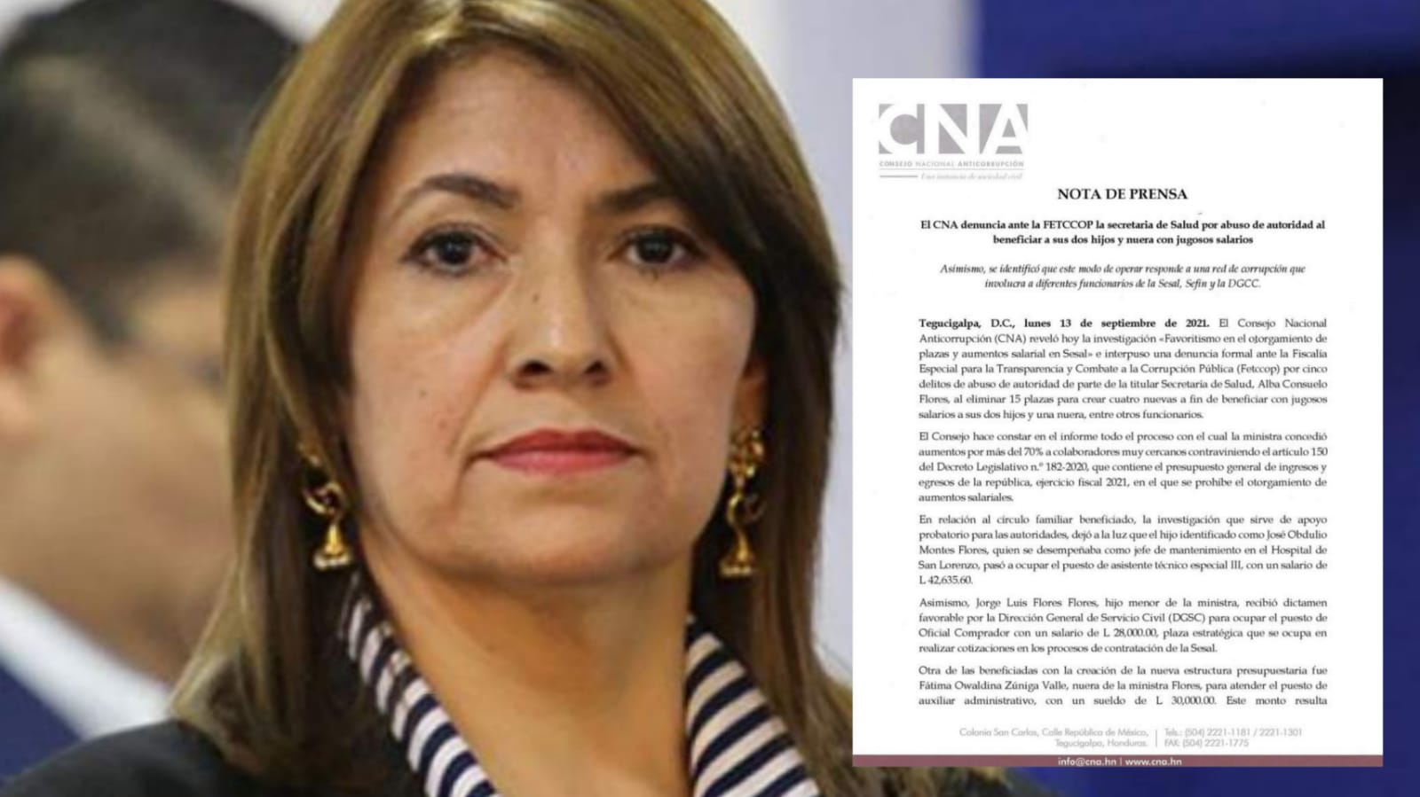 secretaria de salud denuncia del CNA