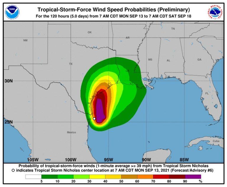 Tormenta Nicholas tocaría tierra en Texas con fuerza de huracán