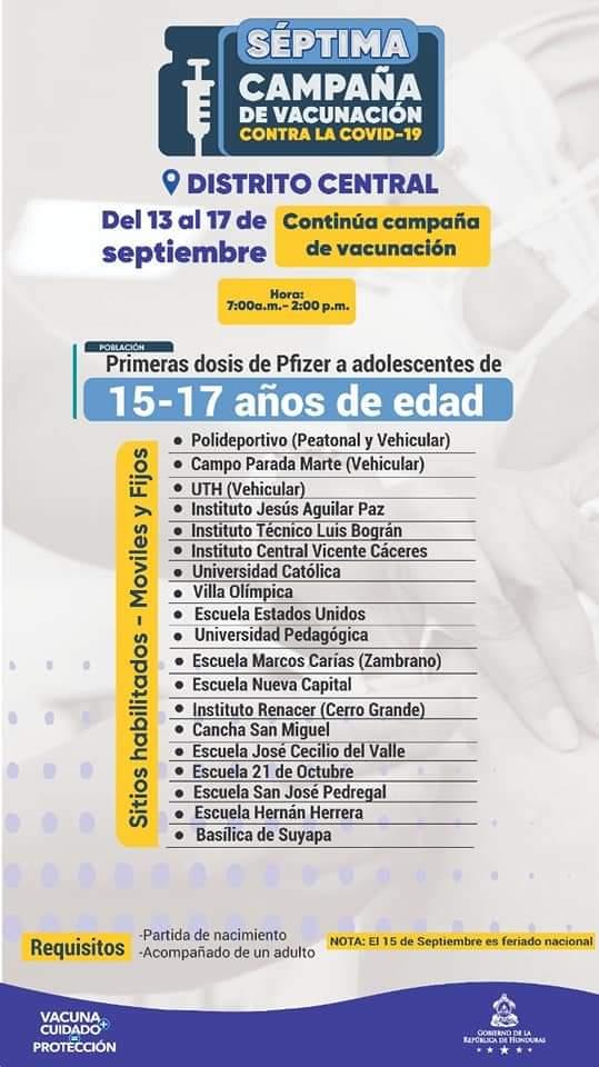 Campaña de vacunación para adolescentes en el Distrito Central.