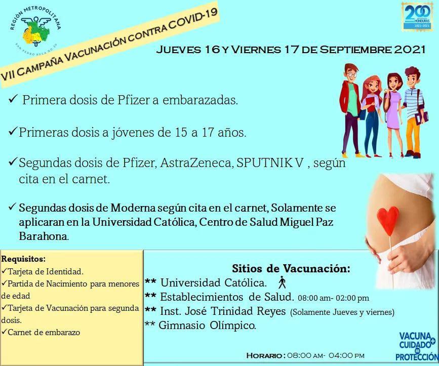 Así estará la vacunación hoy en San Pedro Sula.
