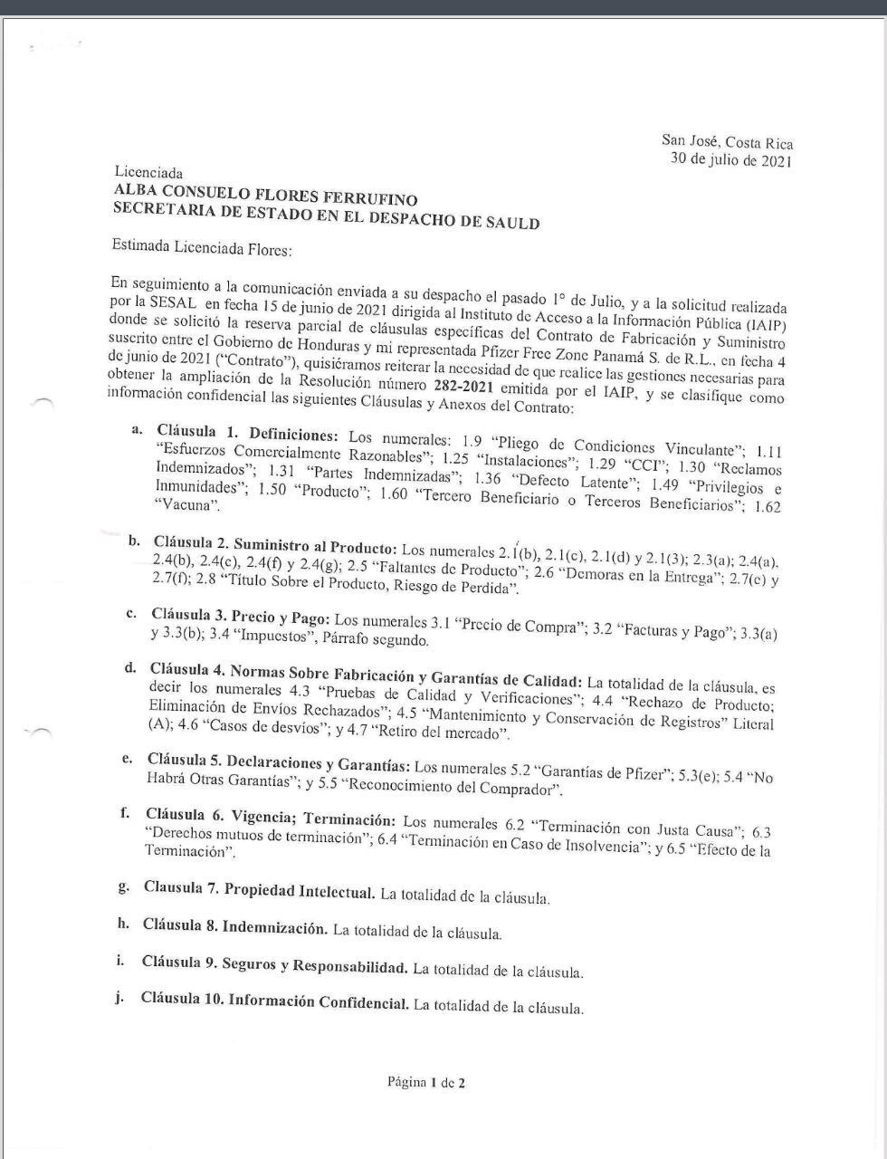 La segunda carta detalla cuáles son las cláusulas y anexos que deben permanecer en secreto.