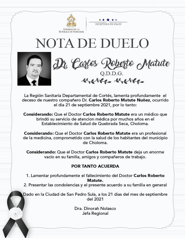 Nota de duelo Región de Cortés.