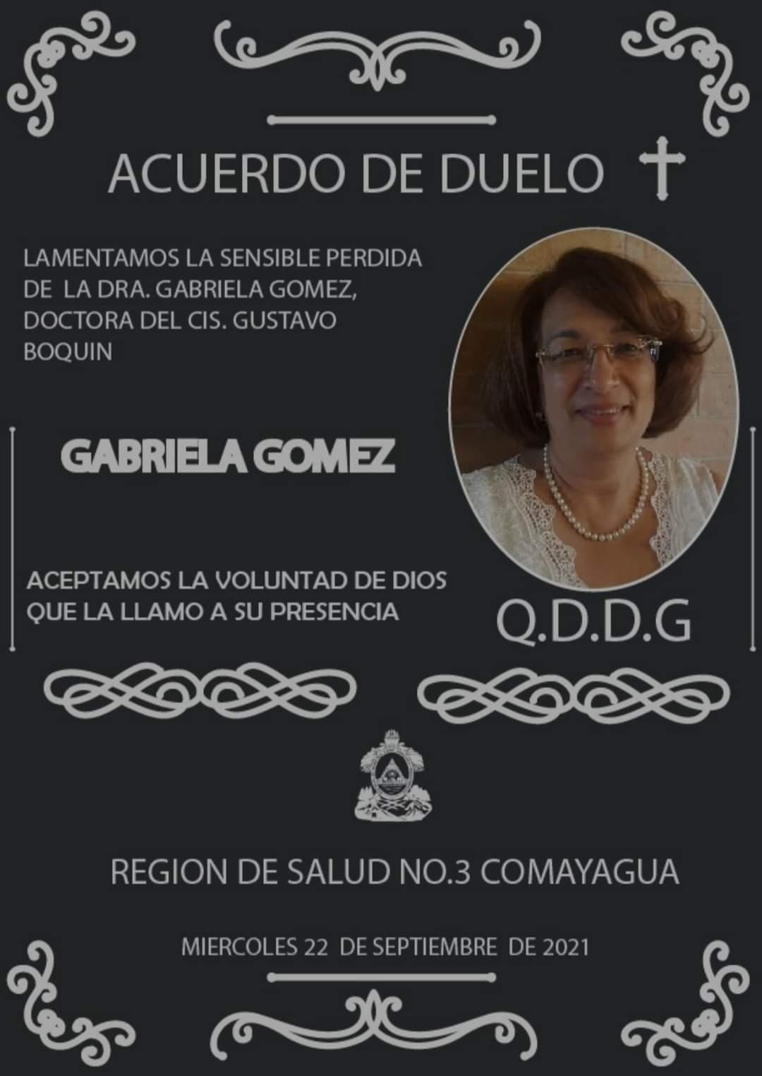 Acuerdo de duelo publicado por el centro de triaje y estabilización de Siguatepeque.