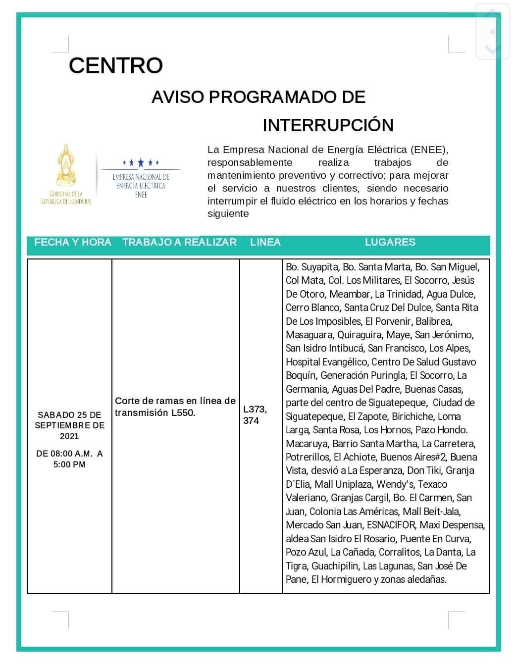 Cortes eléctricos este sábado en Honduras.