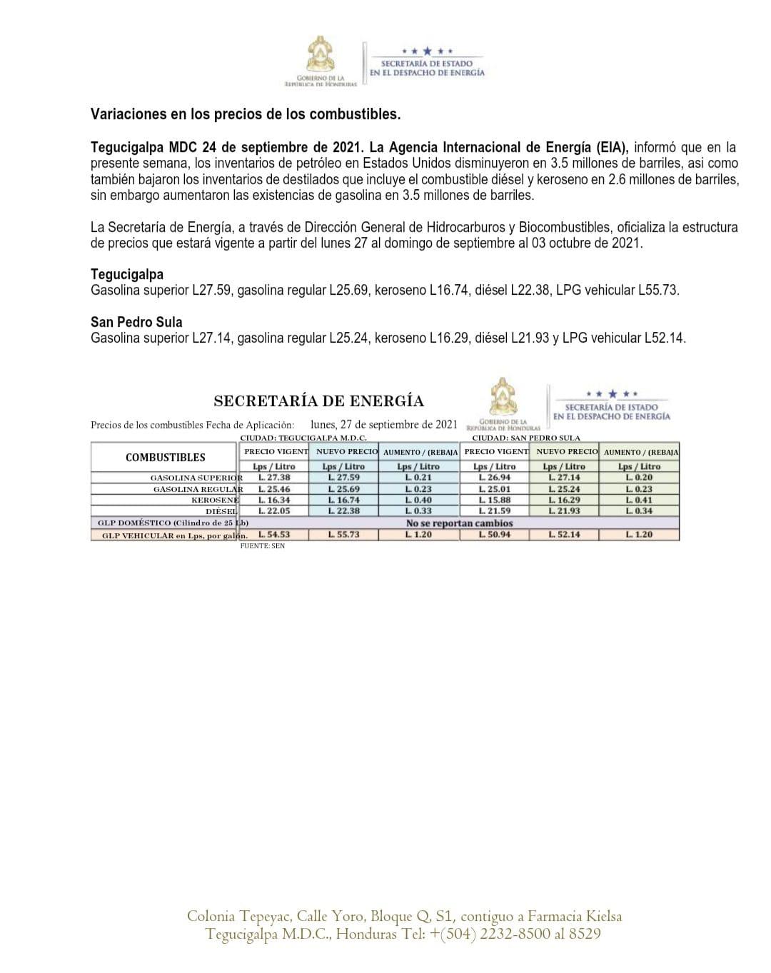 La nueva estructura publicada por la Secretaría de Estado en el Despacho de Energía.
