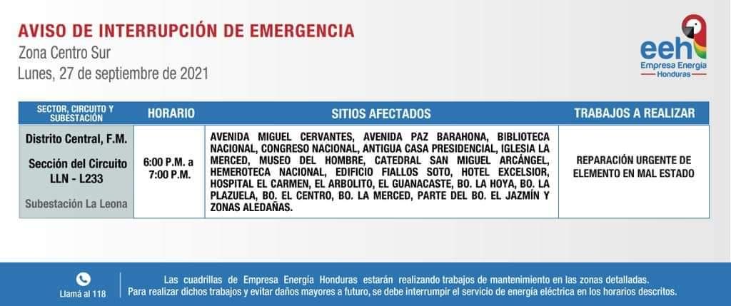 Los capitalinos que habitan en esas zonas incluidas en la lista de la EEH no podrán gozar del vital servicio este próximo lunes.