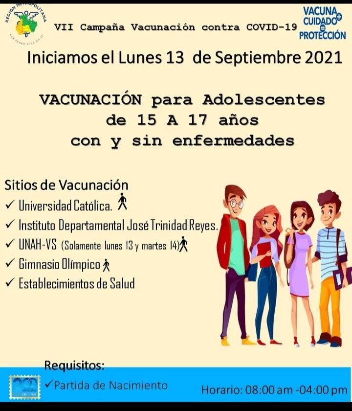 Vacunación COVID a jóvenes en Honduras