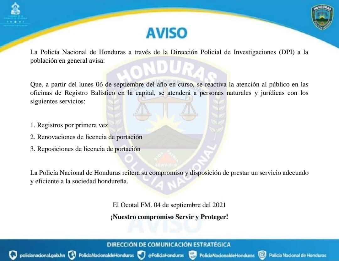 Comunicado de la Policía Nacional.