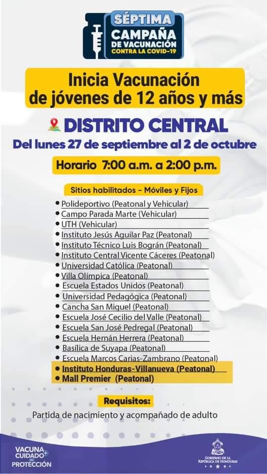 Vacunación COVID capital hondureña