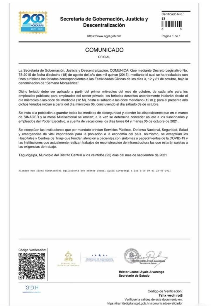 Comunicado de la Secretaría de Gobernación, Justicia y Descentralización.