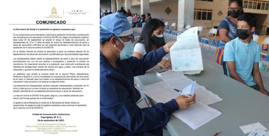 Vacunación niños de 12 años Honduras