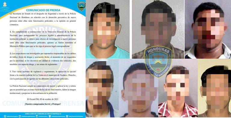 Olancho: Caen siete policías con posesión de supuesta droga