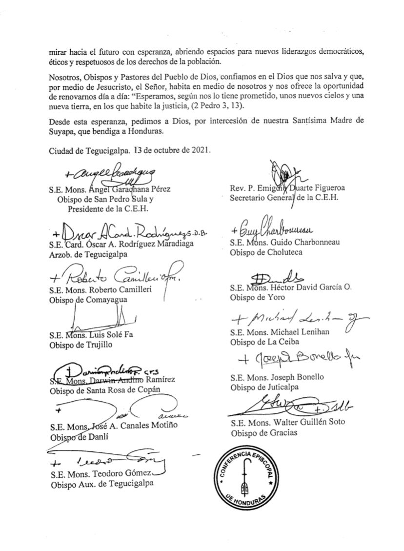 Pronunciamiento de la Conferencia Episcopal.