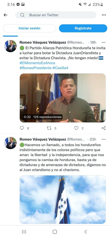 Romeo Vásquez tildó dictadura ayer la alianza