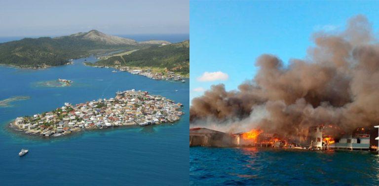 GALERÍA   El antes y después del incendio en Guanaja