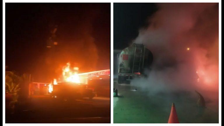 VÍDEOS| Incendio en gasolinera: camión cisterna está en llamas